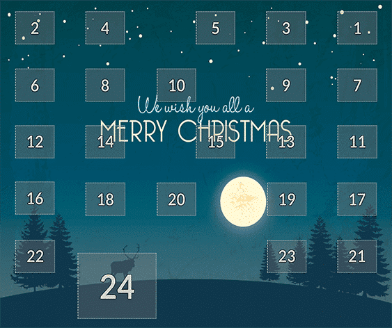 Online Adventskalender - dunkelblau Merry Chrismas