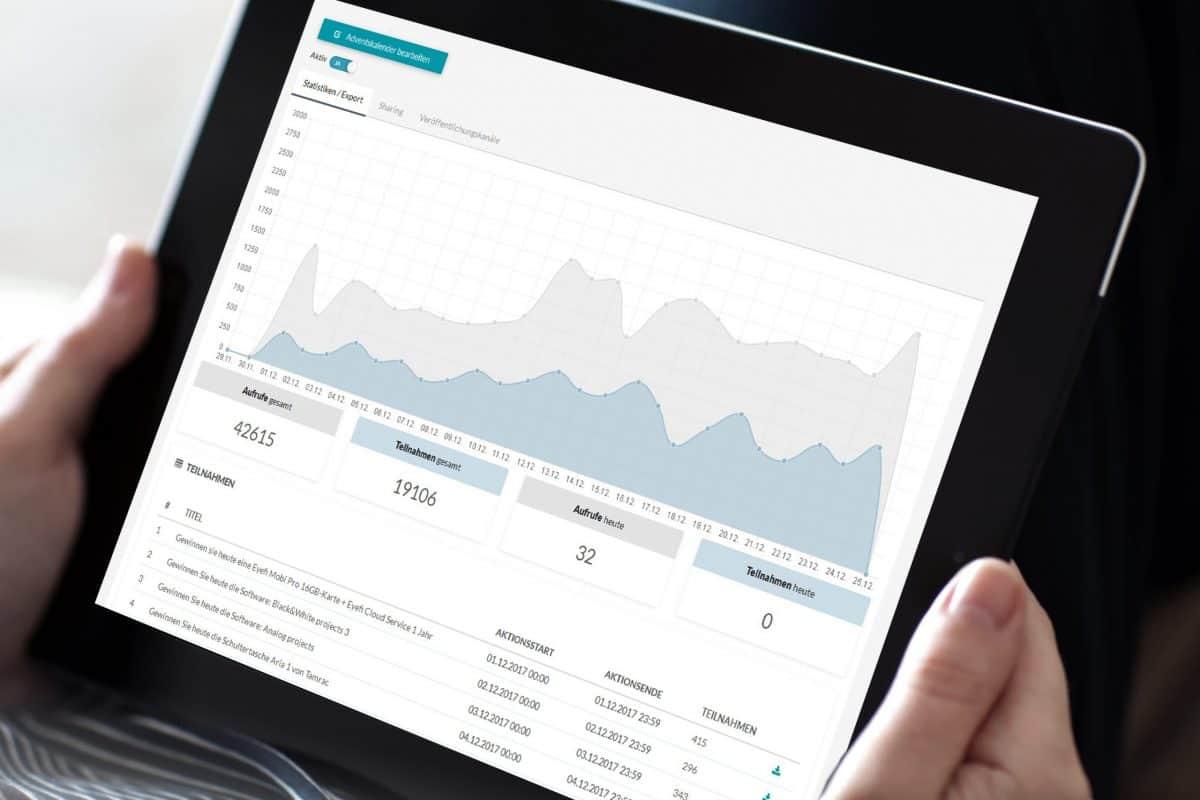 Statistik Funktion im Online Adventskalender